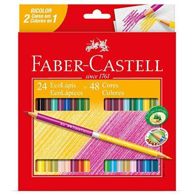 Lápis de Cor 48 cores redondo (24 bicolor)120624G Faber Castell - Escrita & Corretivos - Kalunga.com