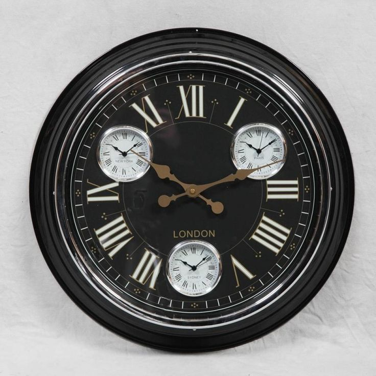 Black Wall Clock Retro 1950s Style