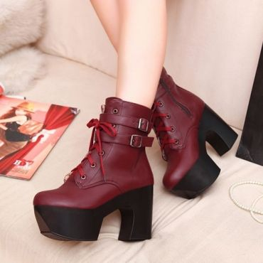 USD20.99Fashion Square Toe Chunky High Heel Zipper Ankle Buckle Red PU Cavalier Boots