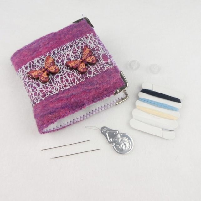 Pink and purple felted mending kit, needle book with butterfly decoration £8.00