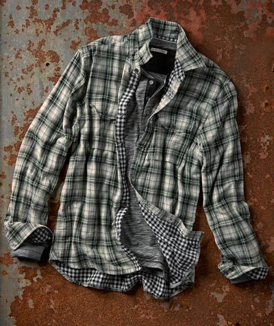 The French have a knack for taking unlikely fabric pairings and creating sartorial works of art-Metier Plaid Shirt from Carbon2Cobalt
