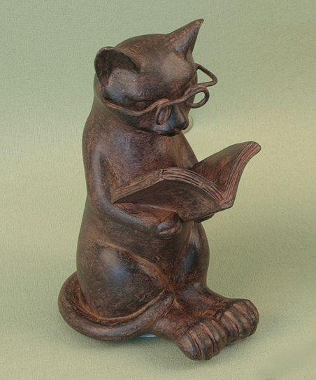 Reading Cat Sculpture