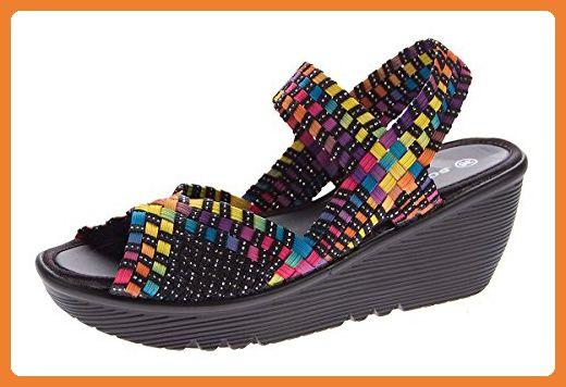 Damen Keil Sandalen geflochten Clogs Schuhe elastisch Fessel Riemen Sandaletten Wedges Schwarz-Multi Gr. 38 - Sandalen für frauen (*Partner-Link)
