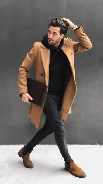 d9b77092a89 black hoodie and black jeans styled with brown coat and suede boots
