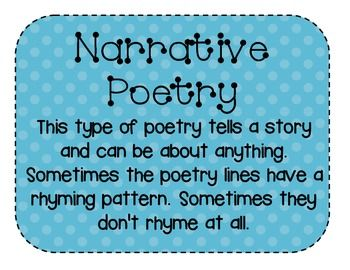 These posters describe acrostic, humorous, lyrical, free verse, and narrative poetry. These posters are the same as the colorful poetry posters but they have polka dot backgrounds.  I usually display them with my own poetry to show examples. The students find them more interesting when the examples come from the teacher.