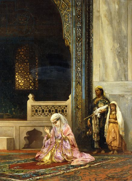 A Turkish Lady Praying in the Green Mosque, Bursa by Stanislaus von Chlebowski