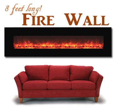 this electric fireplace mounts on the wall nearly 8 39 long. Black Bedroom Furniture Sets. Home Design Ideas