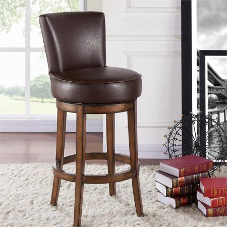 Armen Living Boston 26 inch Counter Height Swivel Wood Barstool in Chestnut Finish and Kahlua Pu, Brown