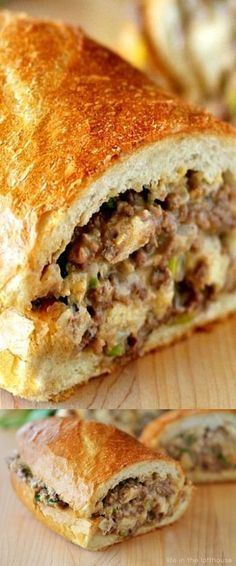 1 lb Ground beef, lean. 1/2 cup Celery. 1 tsp Garlic. 2 tbsp Onion. 1/2 tbsp Parsley. 1 can Cream of mushroom soup. 2 tsp Worcestershire sauce. 1 Salt and pepper. 1 loaf French bread. 1 1/2 cups Cheddar cheese. 2 tbsp Milk.