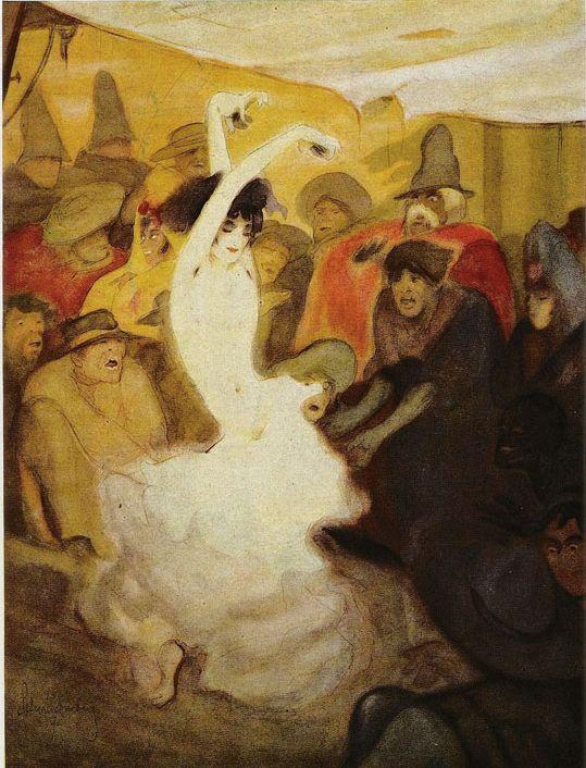 """Illustration by Walter Schnackenberg (1880-1961), """"Der Tanz"""", Judgen Magazine."""