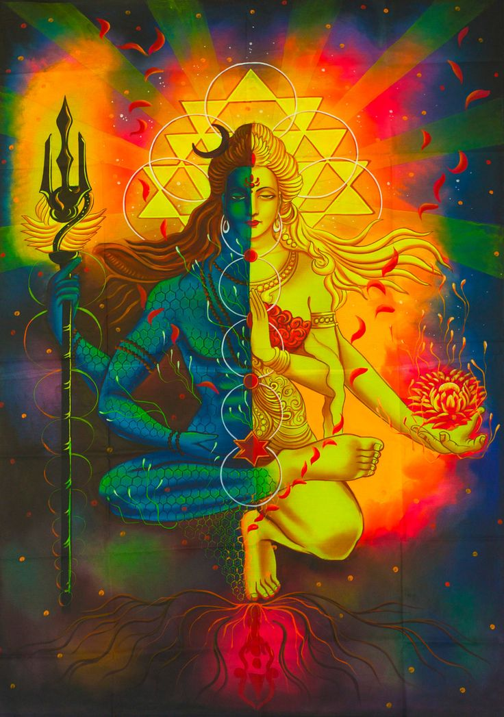 Shiva Parvati UV Painting - handmade on order blacklight active psychedelic india multiple sizes