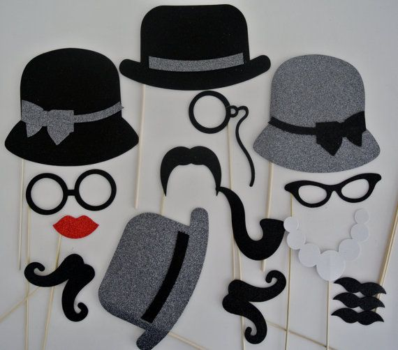 Mad Men Inspired Photo Booth  Props Weddings 16 pc  Grey Hats with Black Trim, $34.99