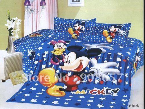 Одеяло стеганое одеяло футляр 100% хлопок синий микки мультфильм шаблон не замужем малыша кровать в сумке с листом постельное белье