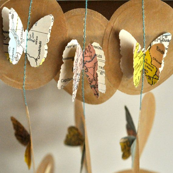 butterfly mapsPaper Garlands, Maps Butterflies, Mapa Maps, Vintage Maps, Mindfulness Maps, Butterflies Maps, Wax Paper