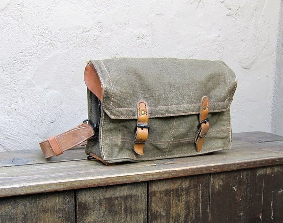 Vintage Rugged 1950 S French Military Army Canvas And