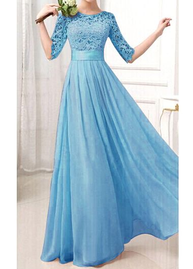 Charming Pierced Sleeve Zipper Closure Maxi Dress - Blue