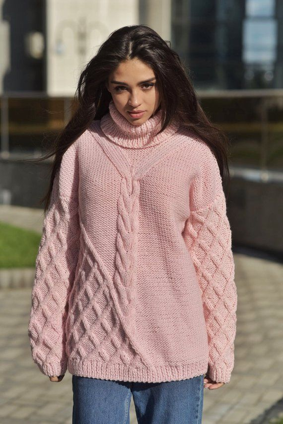 1a1fa9856 Powder pink knitted turtleneck sweater