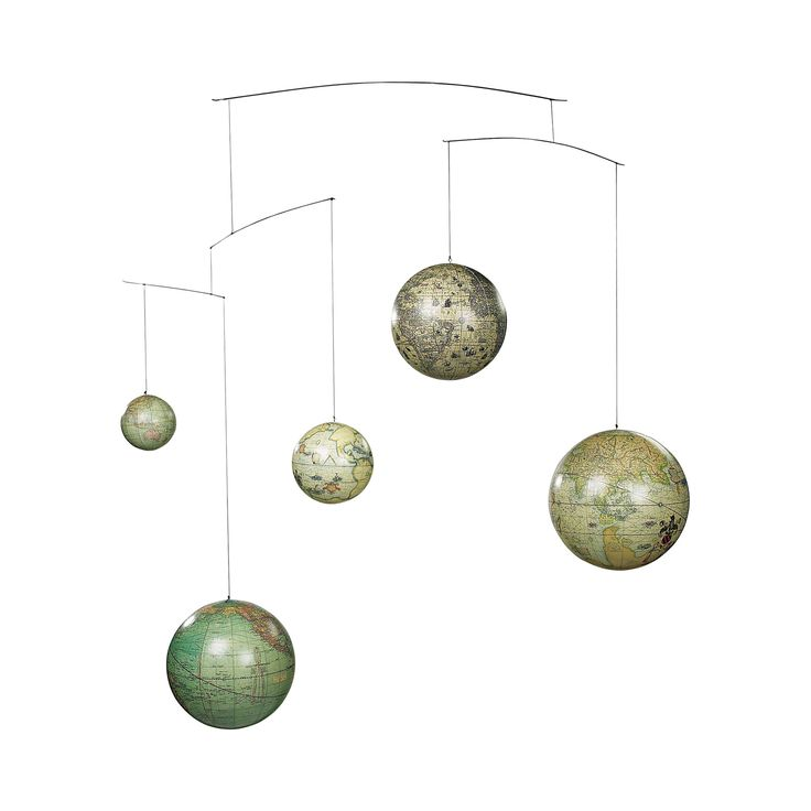 Study advancements in cartography with this stunning mobile. With five orbs each featuring different globe renderings, this Earth Centuries Mobile is sure to add a charming dash of character to any ele...  Find the Earth Centuries Mobile, as seen in the Fresh Meets Eclectic at The Graduate, Oxford Collection at http://dotandbo.com/collections/fresh-meets-eclectic-at-the-graduate-oxford?utm_source=pinterest