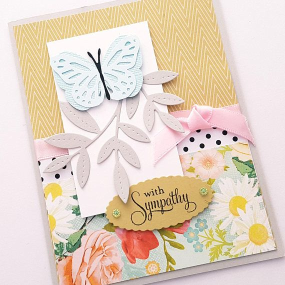Pretty Floral Butterfly Sympathy Card.  READY TO SHIP
