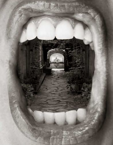 Thomas Barbey: artist study. Take photos of mouths open etc, cut out gap in middle, layer landscape photograph underneath.