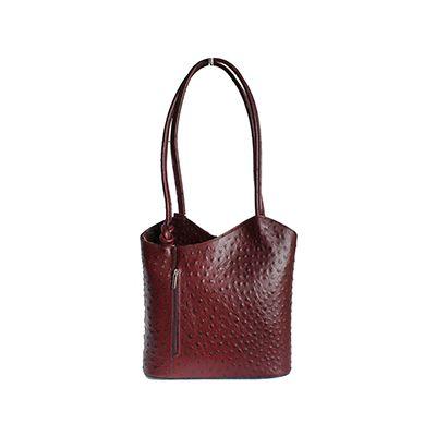 Multi-Way Burgundy Ostrich Leather Shoulder Bag/Backpack - £49.99