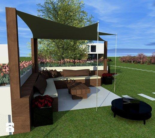 Aranżacje wnętrz - Ogród: Projekt ogrodu w Sarnowie - Duży ogród za domem z parasolem, styl nowoczesny - Hirszberg Pracownia Architektoniczna. Przeglądaj, dodawaj i zapisuj najlepsze zdjęcia, pomysły i inspiracje designerskie. W bazie mamy już prawie milion fotografii!