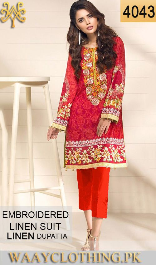 WYZA 4043 NECK EMBROIDERED DESIGNER 3PC LINEN SUIT With