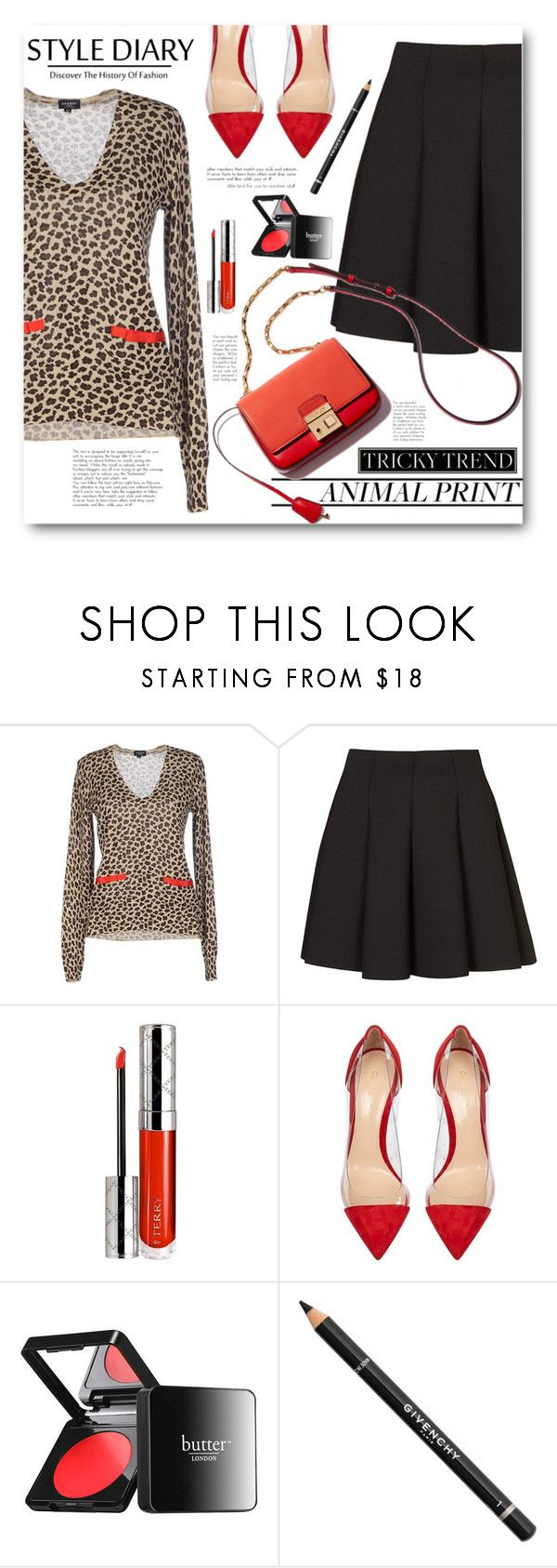 """""""Pleated Skirt & Animal Print Jumper"""" by brendariley-1 ❤ liked on Polyvore featuring Snobby Sheep, Topshop, By Terry, Gianvito Rossi, Butter London and Givenchy"""