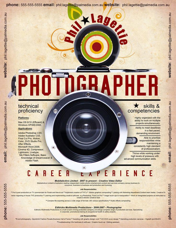 21 Best Photographers Resumes Images On Pinterest Creative