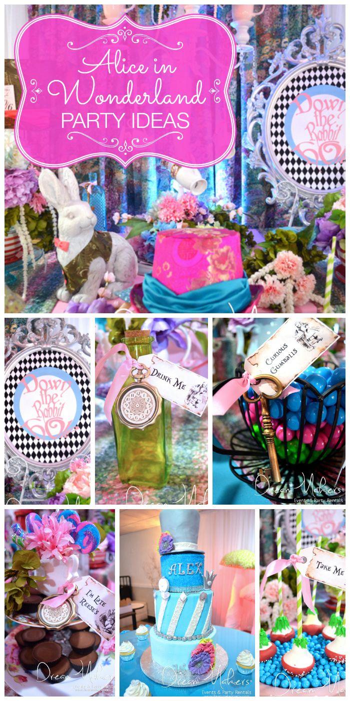 Alice in Wonderland girl birthday party // Fiesta de Alicia en el país de las maravillas