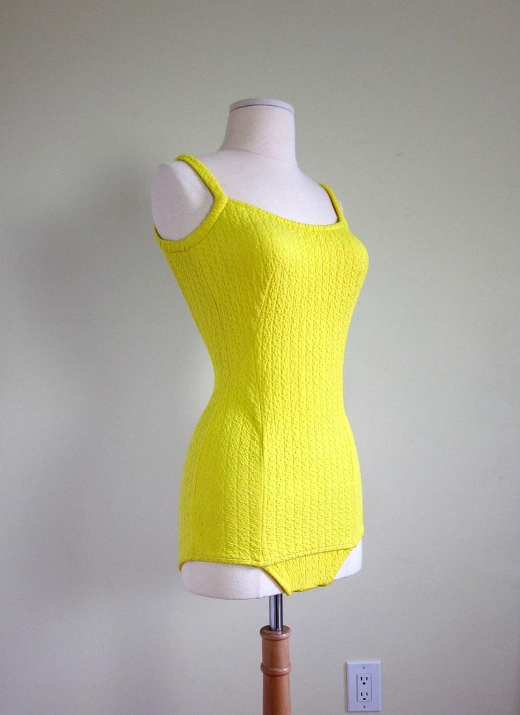 Jantzen Lemon Yellow One Piece Swim Suit 60s / by AttysVintage, $78.00