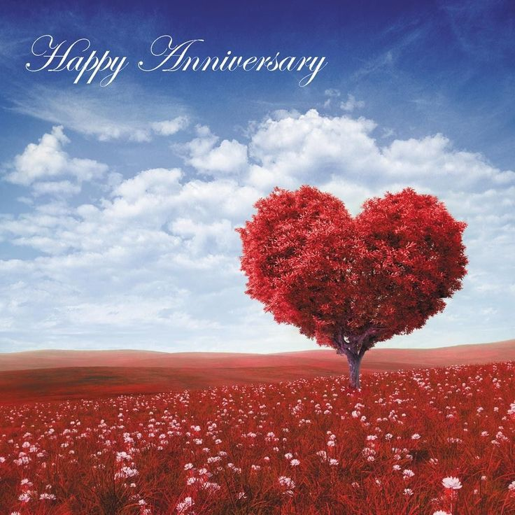 Happy Anniversary Blank Card Husband Wife - Red Tree of Love Card plus Freepost
