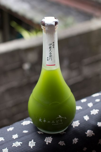 I don't drink but the bottle and color are beautiful!***Uji Matcha Green Tea Liqueur (Kyoto, Japan