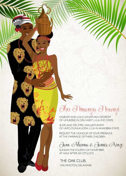 ASA NWA- NIGERIAN IGBO IGBA NKWUTRADITIONAL WEDDING INVITATION (IGBA NKWU)  Ada, Ada, Asa Nwa, Ife di m mma amaka, too fresh like morning wine.. everyone will wait with baited breath as they behold your beautiful bride as you announce this special event with this customizable invitation.