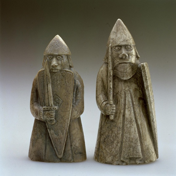 Lewis chessmen, left in lewis in 12th century, whilst on a journey between Scandinivia and Ireland.  Long connected ties and my scottish routes.