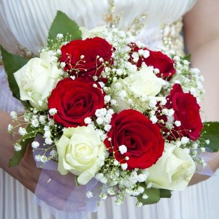 Bride's Bouquet: Red Roses, White Roses, White Gypsophila + Green Foliage