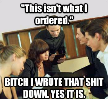 Server humor ;)   oh my goodness I cant stop laughing. Hahah oh how I love working in the restaurant business.