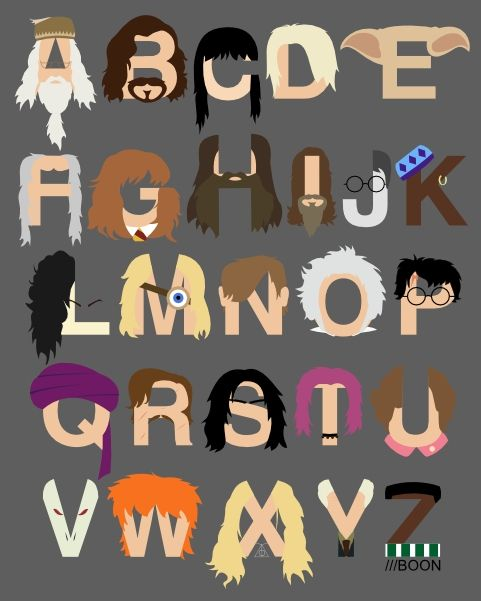 A Harry Potter alphabet by Mike Boon, in which A is for Albus (Dumbledore), B is for Black (Sirius), and C is for Cho Chang. Prints and more available through the source.