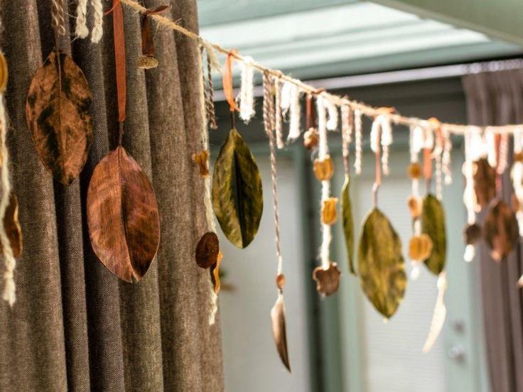 fabriquer une guirlande avec feuille d'automne