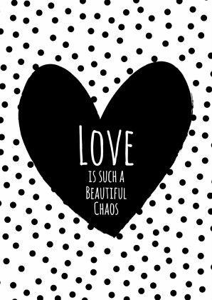 Zwart Wit Love is Chaos - Liefde kaarten - Kaartje2go