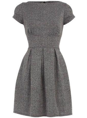 Black chevron flared dress. For work?