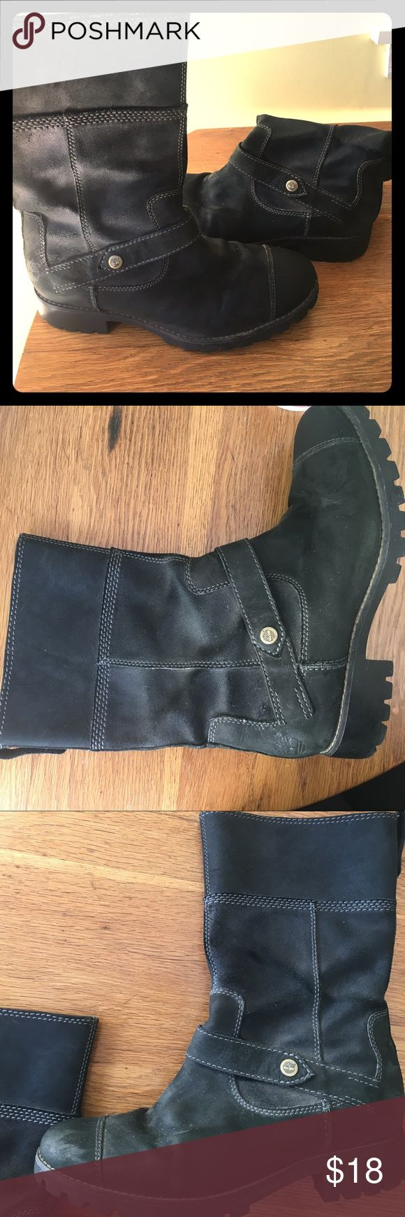 Leather Timberland boots size 9 Leather black timberland boots-guc. Hits mid calf. Very comfortable and cute Timberland Shoes Combat & Moto Boots