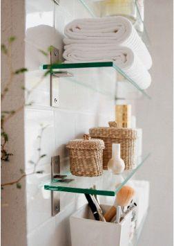 Little Lavatory Luxuries: Sizing Up Your Small Bathroom #glassshelvesbedroom #ba…   – bathroom shelves