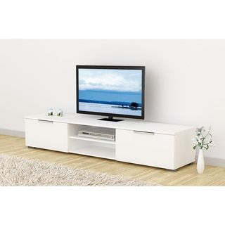 Match Mid-century White Wood TV Stand - Free Shipping Today - Overstock.com - 19656654 - Mobile