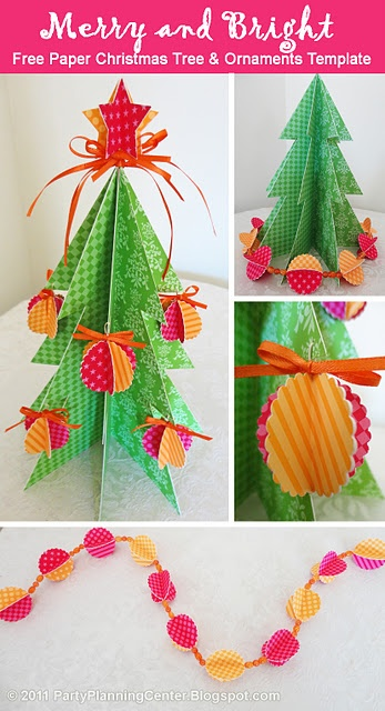 free printable template to make a Christmas tree, ornaments and a garland. Cute!