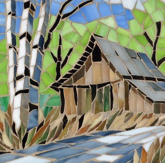 Vidrio mosaico arte pared colgante cabina y abedul árboles