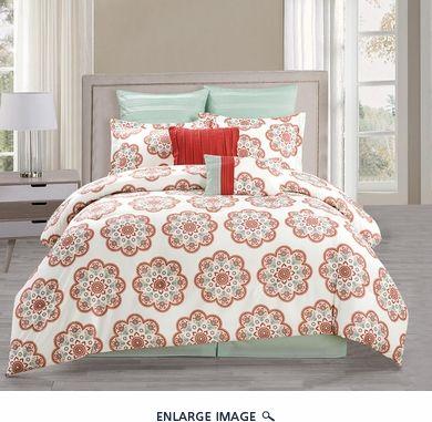 8 Piece Queen Jemila Red/Aqua Comforter Set