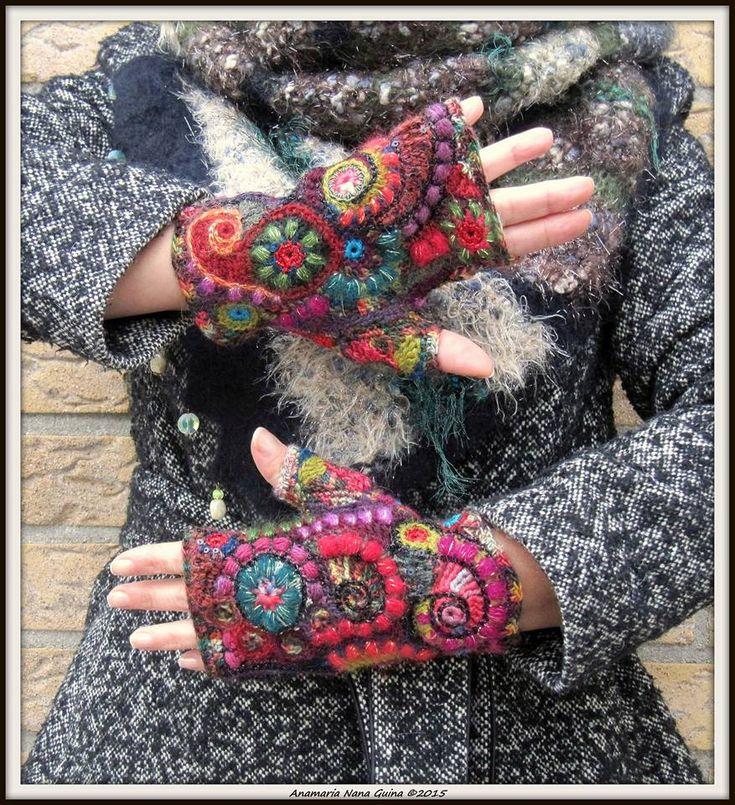 fabulous freeform crochet fingerless gloves by Anamaria Nana Guina