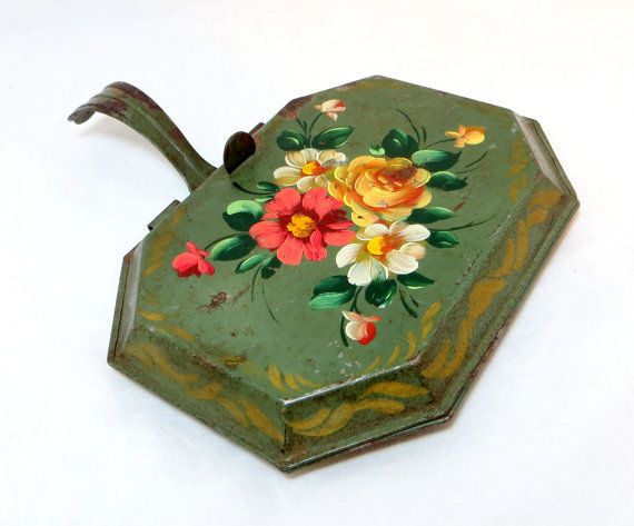 Folk art toleware... Antique Toleware Tray Vintage Bargeware Lavish Roses by keepsies, £15.00