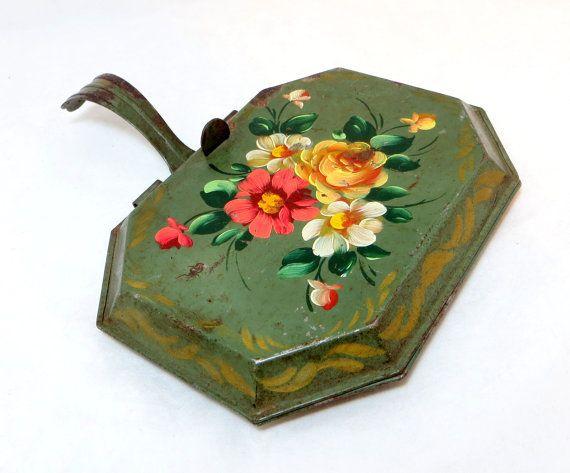 Folk art toleware... Antique Toleware Tray Vintage Bargeware Lavish Roses by keepsies, £15.00